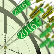 2016 accurate dart target shows successful future - stock illustration