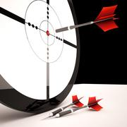 target shows accurate successful winning shot - stock illustration
