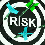 Risk on dartboard shows unsafe Stock Illustration