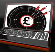 pound symbol on laptop shows britain finances - stock illustration