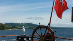 Paddle steamer Waverley, seagull and wheel. Stock Footage