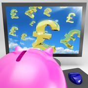 Pound symbols flying on monitor showing britain wealth Stock Illustration