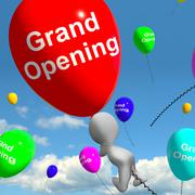 grand opening balloons shows new store launching - stock illustration
