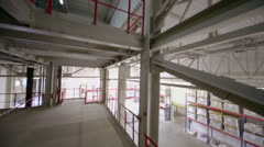 Up levels of large warehouse at Caparol factory Stock Footage