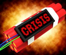 Crisis message on dynamite showing emergency and problems Stock Illustration
