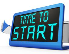Stock Illustration of time to start message showing beginning or activating