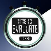 Stock Illustration of time to evaluate message showing assessing and reviewing