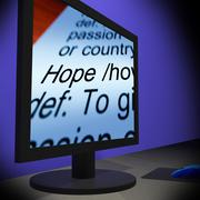 Stock Illustration of hope on monitor showing wishes