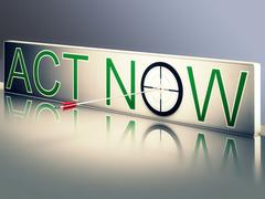 act now shows urgency to communicate fast - stock illustration