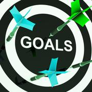 Goals on dartboard shows aspirations Stock Illustration