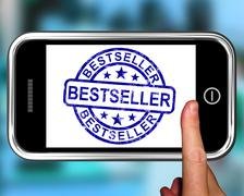 bestseller on smartphone shows first rated book - stock illustration