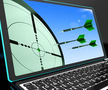 Stock Illustration of arrows aiming on laptop shows perfect strategies