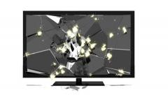 Tv monitor screen explodes - stock footage