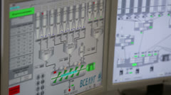 Displays in control center at factory Caparol Stock Footage