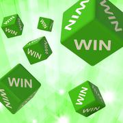 win dice background shows triumph - stock illustration