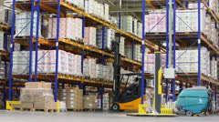 Man gets goods from top shelf in warehouse at Caparol factory Stock Footage