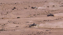 Tanks Driving Desert 02 Stock Footage