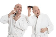 2 shaving man - stock photo