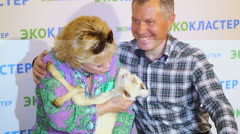 Famous couple poses with goat at presentation of L.Lenina Stars Stock Footage
