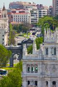 Aerial view of madrid  / famous alcala gate, builldings and street Stock Photos