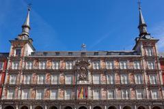 architecture at plaza mayor  in madrid, spain /  casa de la panaderia - stock photo