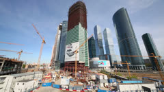 Building site of Moscow International Business Center Stock Footage