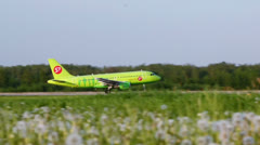 S7 airlines aircraft takes off at Domodedovo Airport - stock footage