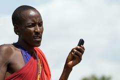 Masai with cellphone Stock Photos