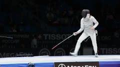 Sportswomen fight on world championship of fencing - stock footage