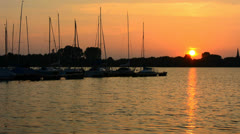 Harbor for pleasure boats at sunset Stock Footage