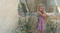 Unhappy, Abandoned Lonely Girl in Demolished House, Homeless Sad Child, Children Stock Footage