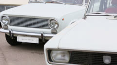 view of retro cars in Exhibition of Soviet vintage automobiles - stock footage