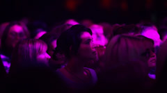 Female fan crowd listen Emin Agalarov concert Stock Footage
