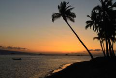 Lahaina Shore At Sunset - stock photo