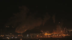 Industry with smoke at night Stock Footage