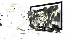 TV monitor screen explodes perspective version Stock Footage