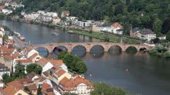 Old bridge of Heidelberg Stock Footage