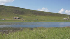 Khakassia. On the shore of the Tus Lake (pan right) Stock Footage