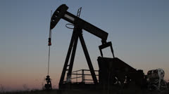 Oil Well Rig Silhouette - stock footage