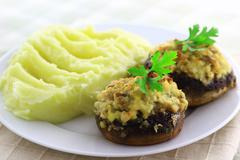 Stuffed champignon mushrooms Stock Photos