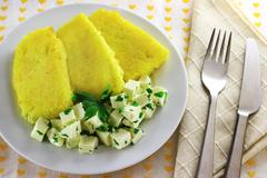 Stock Photo of sliced polenta with cheese