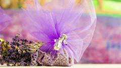 Lavender Decorated pocket Present Close up with slider Stock Footage