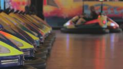 Bumper cars in action, medium Closeup Stock Footage