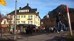 Neuschwanstein Horse Carriages Stock Footage