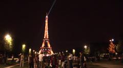 Eiffel Tower Light Show from Champ de Mars Stock Footage