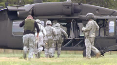 UH-60 - Blackhawk Soldiers Boarding 02 Stock Footage