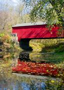 Red Covered Bridge Reflection Stock Photos