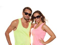 Young casual couple with sunglasses Stock Photos