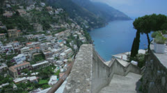 Stock Video Footage of High Angle View on Positano Amalfi Coast Italy - 29,97FPS NTSC