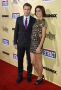 "jessica stroup and dustin milligan .""extract"" los angeles premiere.held at th - stock photo"
